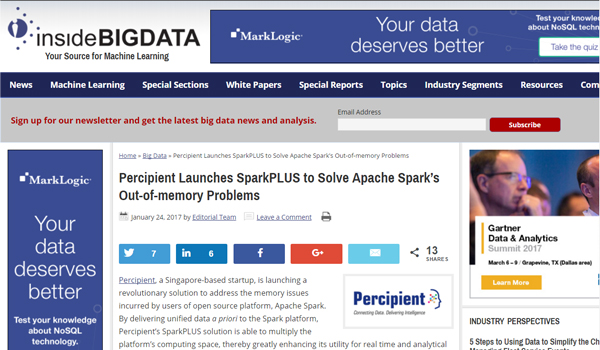 Percipient Launches SparkPLUS | Inside BigData | 24 Jan'2017