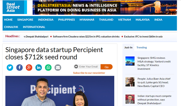 Singapore data startup Percipient closes $712k seed round | 12 April 2017