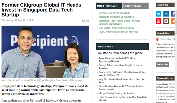 Former Citigroup Global IT Heads Invest in Singapore Data Tech Startup | 19 April 2017