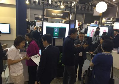 A very busy day at our booth at the Singapore FinTech Festival