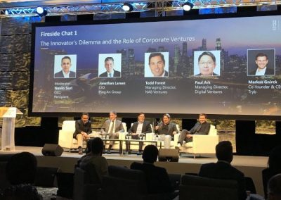 Navin moderating fireside chat with Jonathan Larsen (Ping An), Todd Forest (NAB Ventures), Paul Ark (DV) & Markus Gnirck (Tryb) at the MAS EY Investor Deal Day